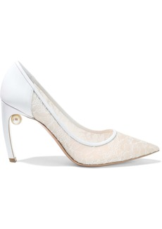 Nicholas Kirkwood Woman Mira 90 Embellished Leather And Chantilly Lace Pumps White
