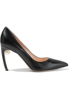 Nicholas Kirkwood Woman Mira 90 Faux Pearl-embellished Leather Pumps Black