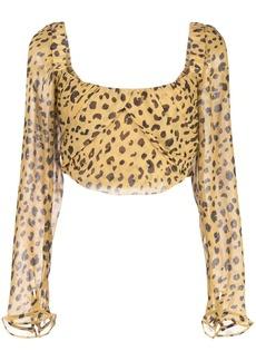 NICHOLAS leopard print cropped top