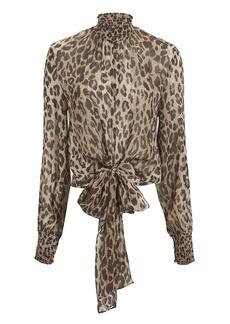 NICHOLAS Mock Neck Leopard Blouse