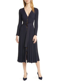 NICHOLAS Azar Ribbed Long Sleeve Midi Dress