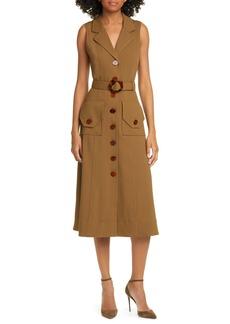 NICHOLAS Belted Button Up Silk Twill Midi Dress