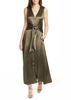 NICHOLAS Deepa Tie Waist Satin Maxi Dress