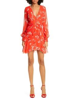NICHOLAS Floral Print Long Sleeve Silk Minidress