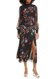NICHOLAS Floral Print Sheer Long Sleeve Ruched Silk Maxi Dress