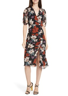 NICHOLAS Floral Ruched Silk Midi Dress