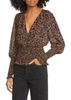 NICHOLAS Floral Smocked Silk Blouse