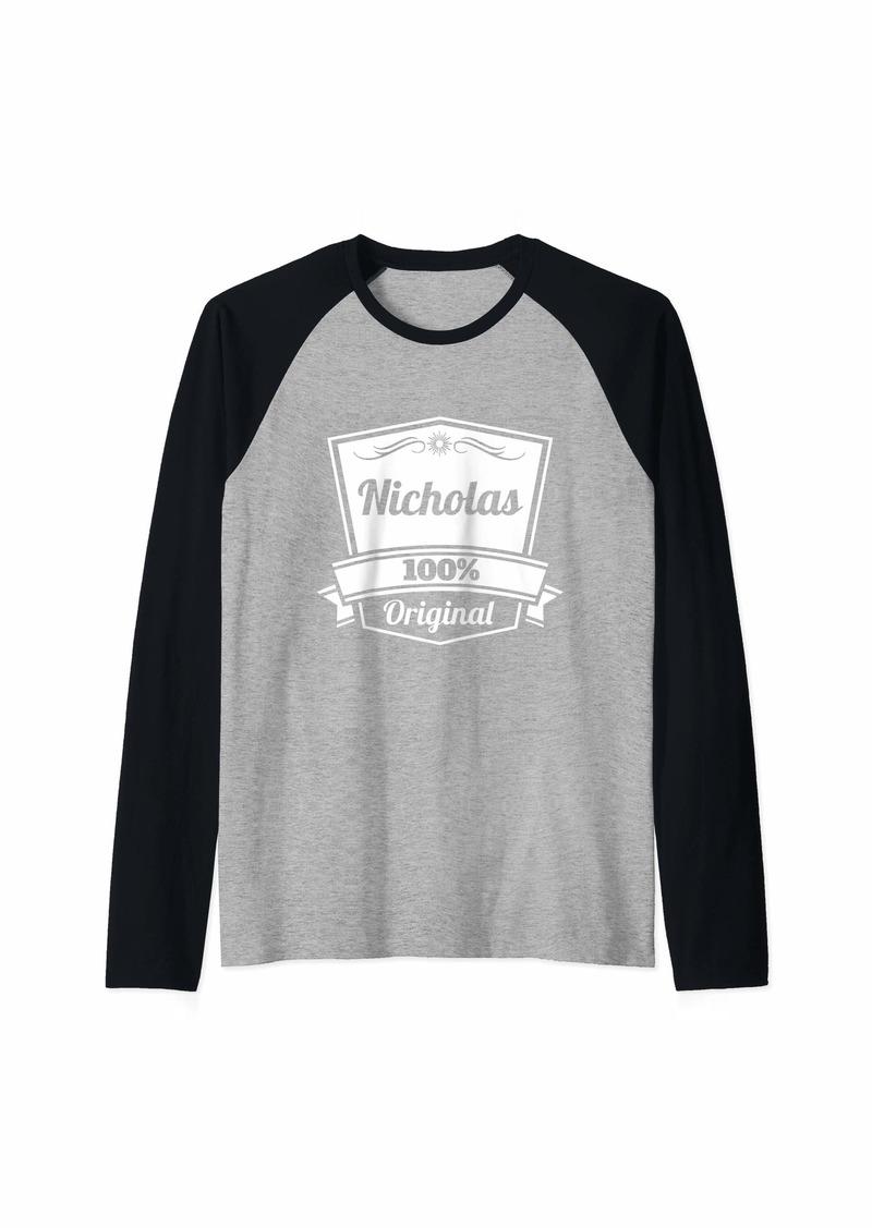 Nicholas Gift / Nicholas Personalized Name Birthday Raglan Baseball Tee