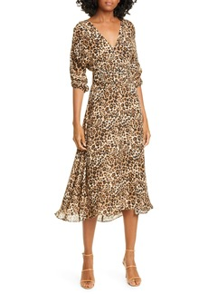 NICHOLAS Leopard Print Belted Silk Midi Dress