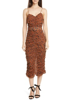 NICHOLAS Leopard Print Ruched Silk Dress