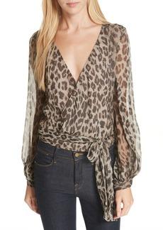 NICHOLAS Leopard Print Silk Wrap Top