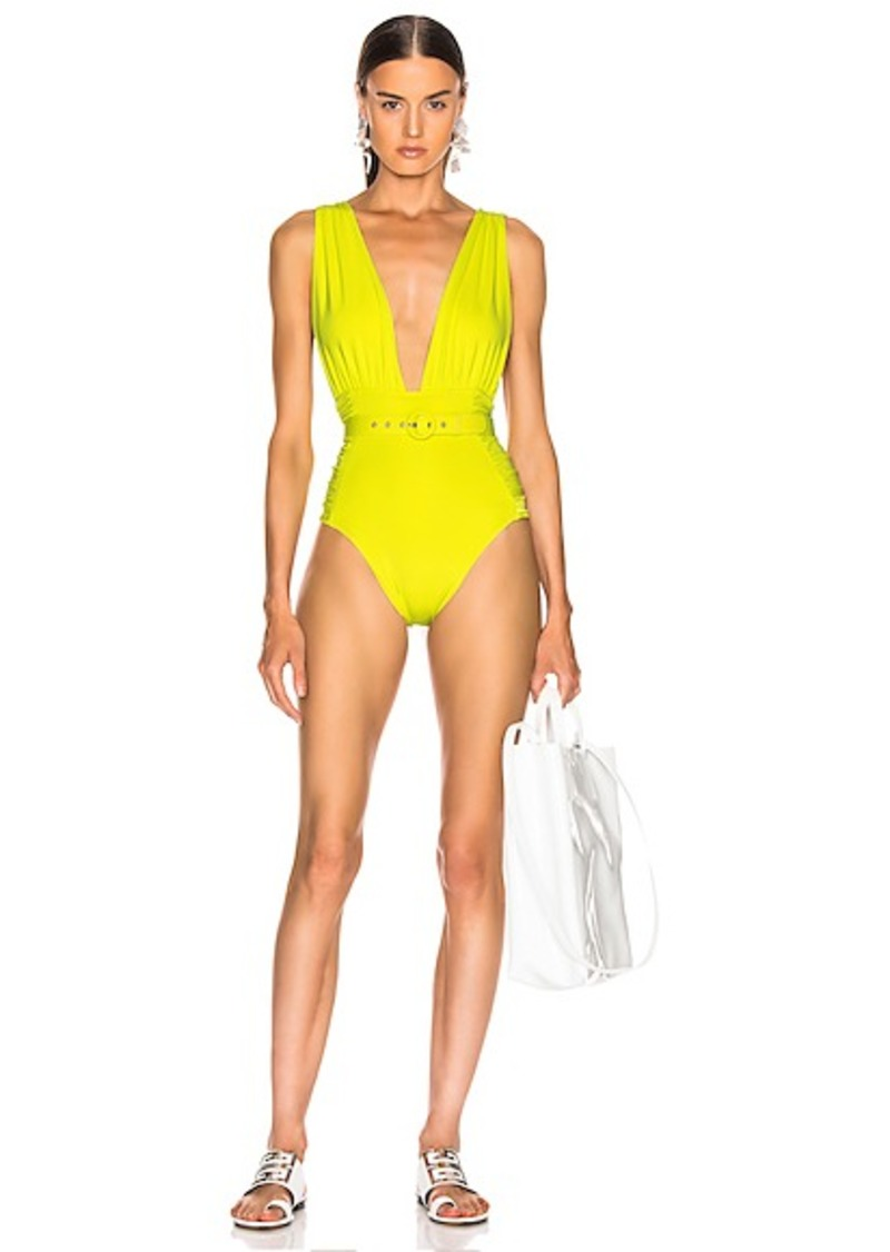 NICHOLAS Plunge Ruched Swimsuit