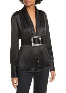 NICHOLAS Sahra Shawl Collar Belted Blouse