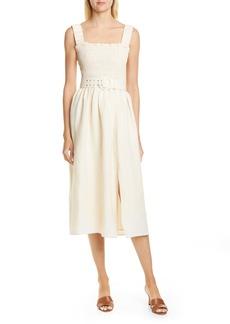 NICHOLAS Smocked Silk & Linen Apron Midi Dress