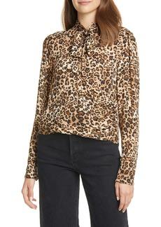 NICHOLAS Tie Neck Leopard Print Silk Top