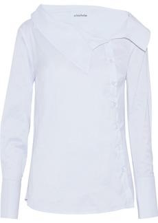 Nicholas Woman Asymmetric Cotton-blend Poplin Shirt White