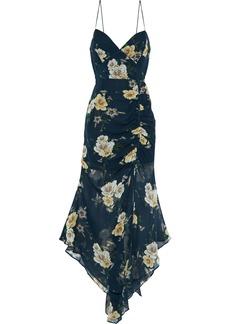 Nicholas Woman Asymmetric Floral-print Silk-chiffon Midi Slip Dress Petrol