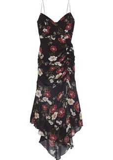 Nicholas Woman Asymmetric Ruched Floral-print Silk-chiffon Midi Slip Dress Black