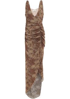 Nicholas Woman Asymmetric Ruched Leopard-print Silk-crepe Dress Animal Print
