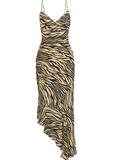 Nicholas Woman Asymmetric Ruched Printed Silk-chiffon Midi Slip Dress Animal Print