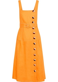 Nicholas Woman Belted Button-detailed Linen Midi Dress Saffron