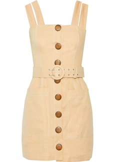 Nicholas Woman Belted Button-detailed Linen Mini Dress Beige