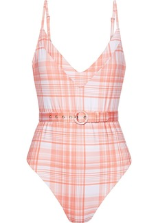 Nicholas Woman Belted Checked Swimsuit Coral