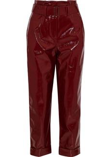 Nicholas Woman Belted Crinkled-vinyl Straight-leg Pants Burgundy