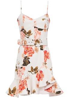 Nicholas Woman Arielle Ruffled Floral-print Cotton-blend Twill Mini Dress Ecru