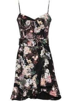 Nicholas Woman Belted Floral-print Stretch-cotton Twill Mini Dress Black