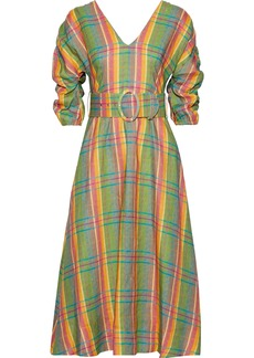 Nicholas Woman Belted Gathered Checked Linen Midi Dress Leaf Green
