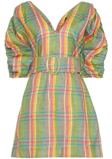 Nicholas Woman Belted Gathered Checked Linen Mini Dress Leaf Green