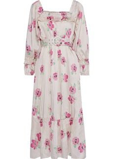Nicholas Woman Belted Pleated Floral-print Satin-twill Midi Dress Ivory