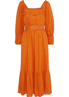 Nicholas Woman Belted Pleated Gauze Midi Dress Orange