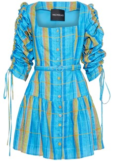 Nicholas Woman Belted Ruched Checked Linen Mini Dress Light Blue