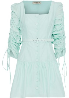 Nicholas Woman Belted Ruched Cotton And Silk-blend Mini Dress Mint