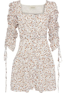 Nicholas Woman Belted Ruched Floral-print Crepe De Chine Mini Dress Ivory