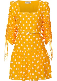 Nicholas Woman Belted Ruched Polka-dot Cotton And Silk-blend Mini Dress Saffron