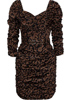 Nicholas Woman Belted Ruched Printed Crepe De Chine Mini Dress Animal Print