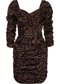 Nicholas Woman Belted Ruched Printed Crepe De Chine Mini Dress Animal Print