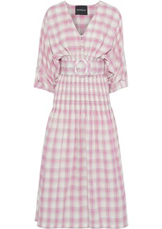 Nicholas Woman Belted Shirred Checked Cotton-broadcloth Midi Dress Pink