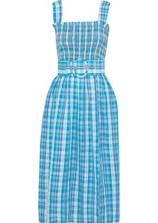 Nicholas Woman Belted Shirred Checked Crinkled-cotton Midi Dress Light Blue