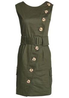 Nicholas Woman Belted Stretch-cotton Twill Mini Dress Army Green