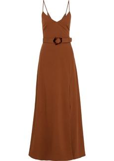 Nicholas Woman Belted Twill Maxi Dress Brown
