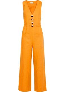 Nicholas Woman Button-detailed Linen Jumpsuit Saffron