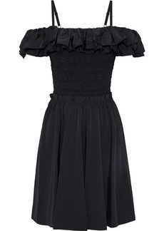 Nicholas Woman Cold-shoulder Ruffled Shirred Cotton-blend Taffeta Dress Black