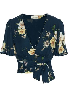 Nicholas Woman Cropped Belted Floral-print Silk-crepe Top Midnight Blue