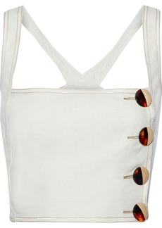 Nicholas Woman Cropped Button-detailed Linen Top Ivory