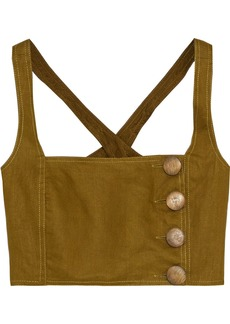 Nicholas Woman Cropped Button-detailed Linen Top Army Green