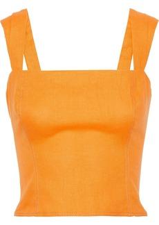 Nicholas Woman Cropped Linen Top Saffron